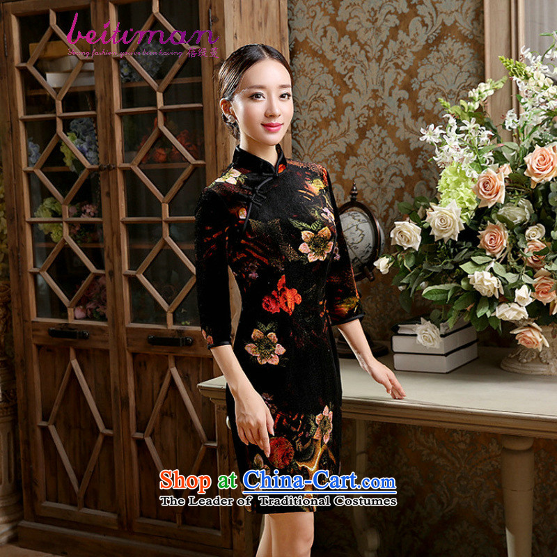 Mrs Ingrid Yeung economy Overgrown Tomb women_Chinese Traditional Stretch Wool collar manually really allotted seven points cuff cheongsam dress figure燲L
