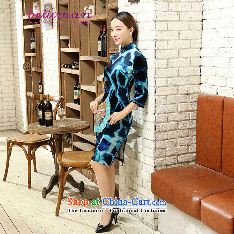 Mrs Ingrid Yeung as Overgrown Tomb�Women 2015 elegant Sau San really scouring pads Chinese collar manually. cuffs cheongsam dress� TD0053�figure�XXL