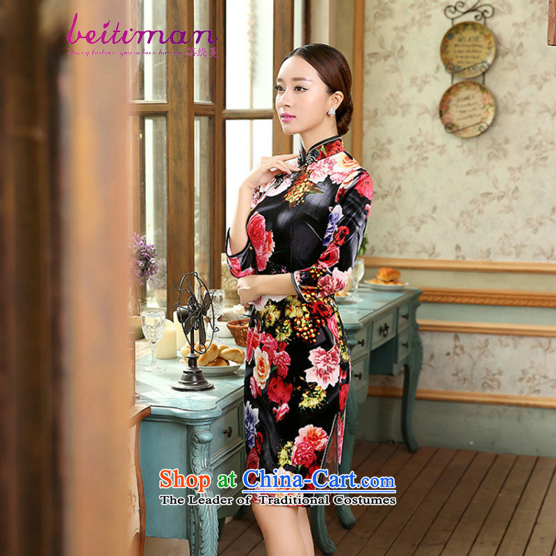 Mrs Ingrid Yeung economy Overgrown Tomb female guests will find all of the Sau San really scouring pads in the collar cuff cheongsam dress聽TD0054聽figure聽XXL