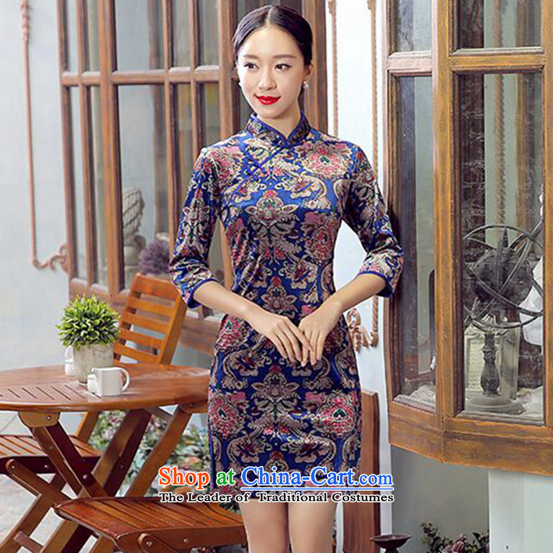 Dan breathing new for women collar elegant Stretch Wool Chinese Short Sau San qipao 7 cuff dresses Figure Color聽XL