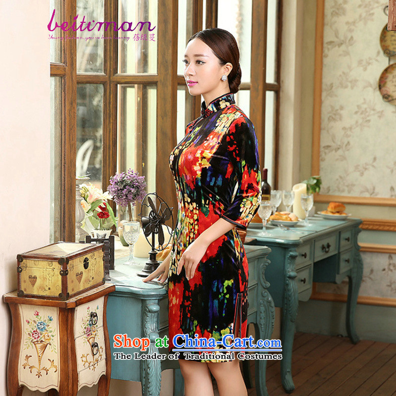 Mrs Ingrid Yeung economy are really decorated female Overgrown Tomb scouring pads Chinese collar manually. cuffs cheongsam dress TD0055 figure燬