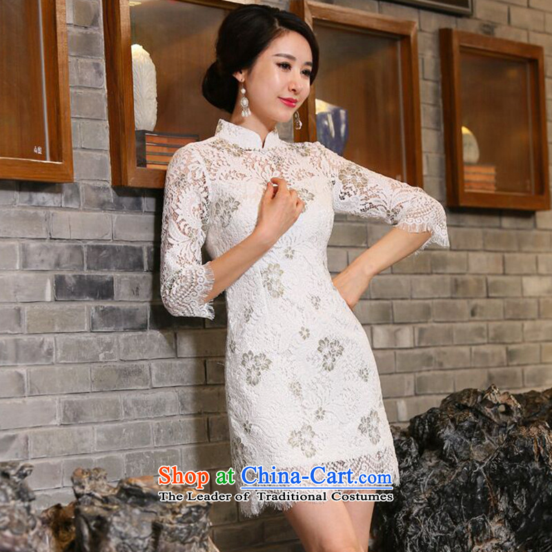 Take the new figure women fall inside the Chinese stand collar in cheongsam water-soluble lace improved 7 cuff cheongsam dress figure color聽M