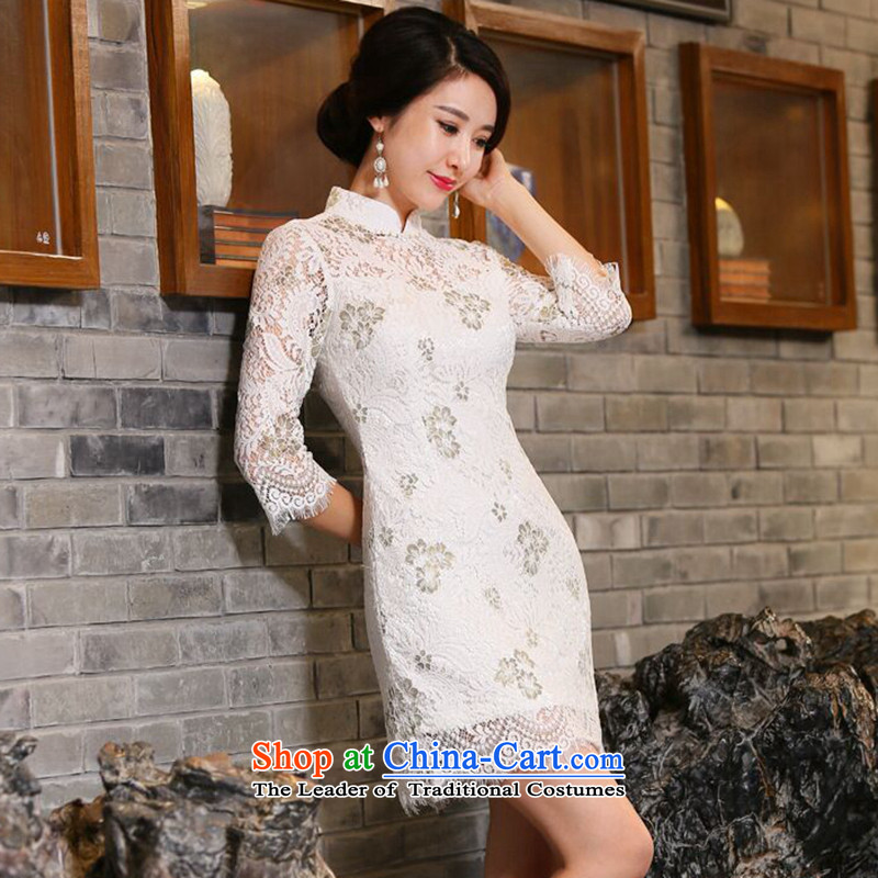 Dan breathing new for women fall inside Chinese qipao collar in water-soluble lace improved 7 cuff cheongsam dress Figure Color聽XL