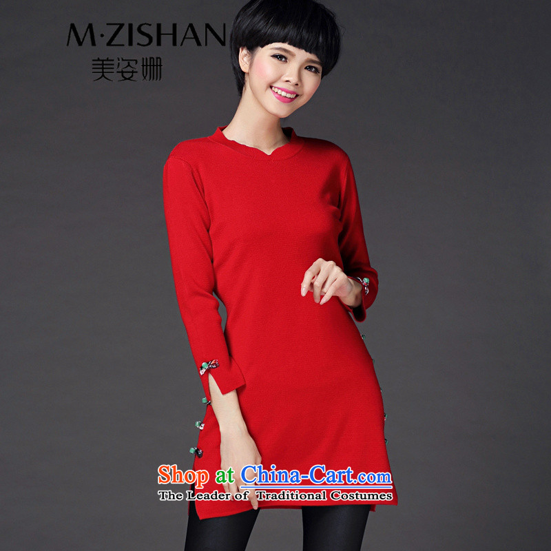 Beauty of the 2015 autumn and winter Susan Sarandon cheongsam dress in the knitwear long woolen pullover thin long-sleeved sweater video female red燲L