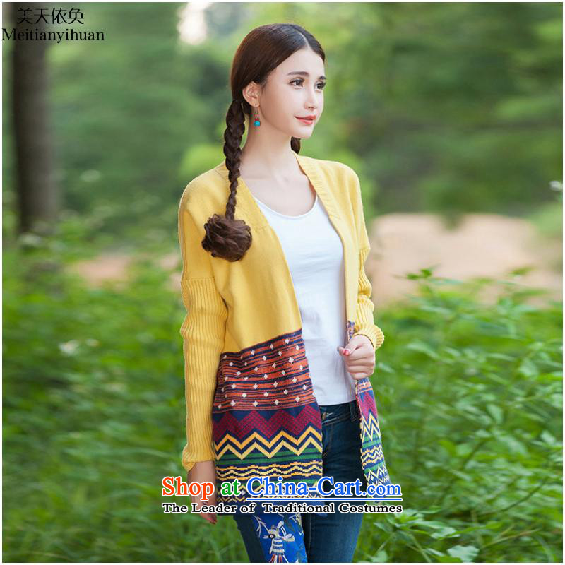 2015 Autumn new national jacquard long-sleeved shirt, long, knitting cardigan female FZ559 Yellow?M