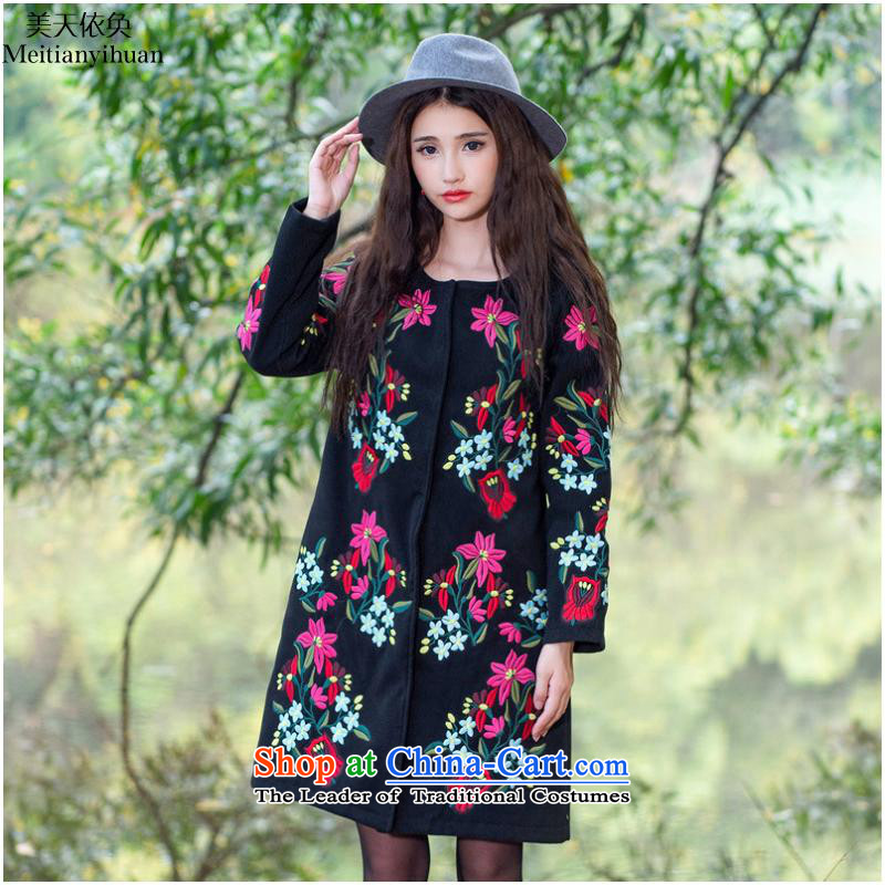 2015 Autumn and winter ethnic new embroidery no collar workers in long coats female FZ559 gross? black?2XL