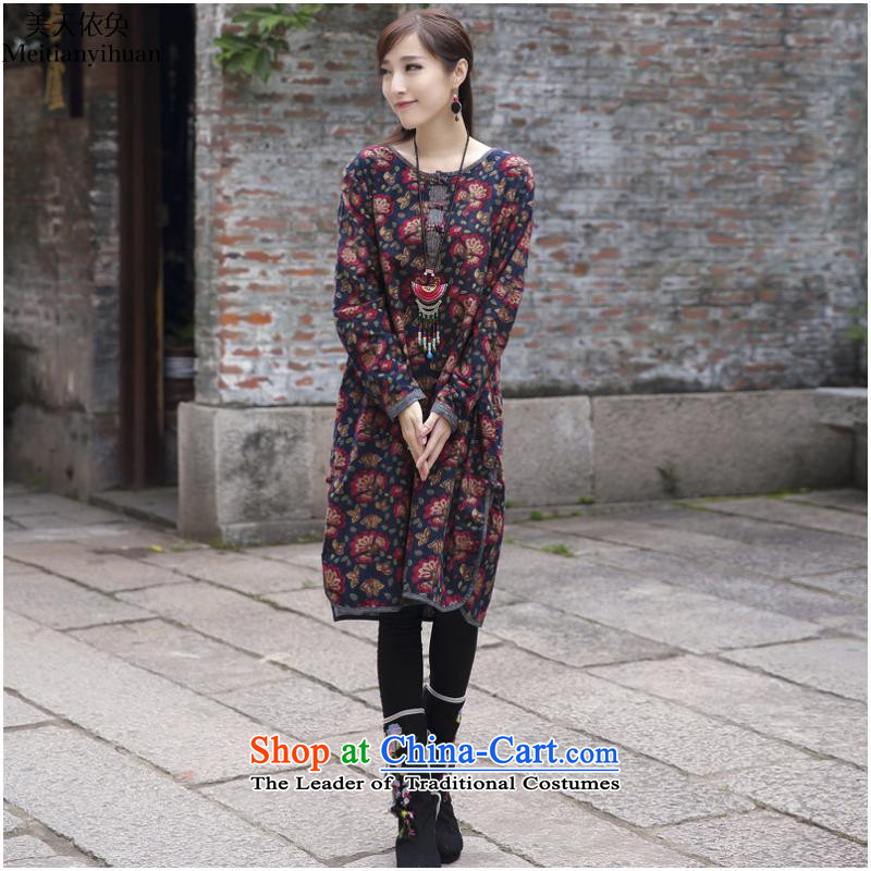 The literary van 2015 autumn and winter new women's fit side of the forklift truck in long thick cotton linen, stamp long-sleeved dresses female FZ559 large dark blue are code
