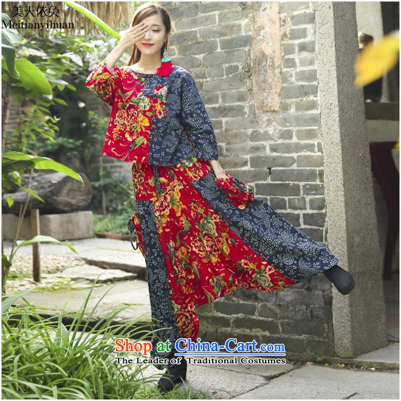 Ethnic Women 2015 autumn and winter new ethnic stamp leisure life lift + T-shirt trousers down kit FZ559 black?M