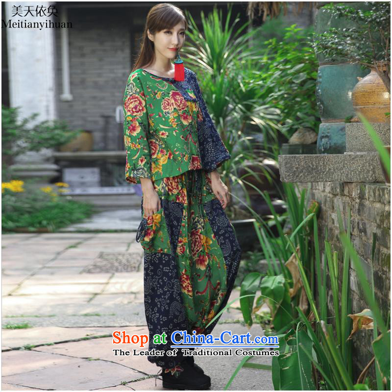 Ethnic Women 2015 autumn and winter new ethnic stamp leisure life lift + T-shirt trousers down kit FZ559 blackM us day in accordance with the property (meitianyihuan) , , , shopping on the Internet
