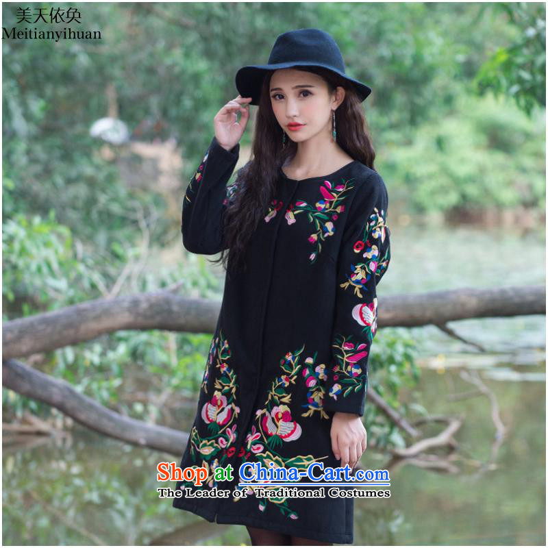 Gross? 2015 autumn and winter coats new ethnic embroidery in long long-sleeved jacket female FZ559 Sau San?5XL black