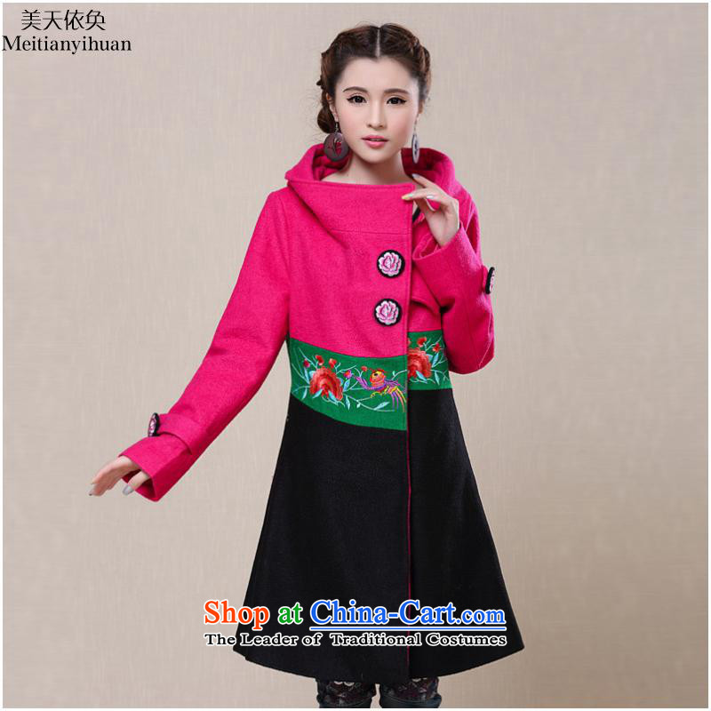 The autumn and winter 2015 new ethnic color embroidered stitching knocked wool coat jacket Women?   FZ559 BLUE?L