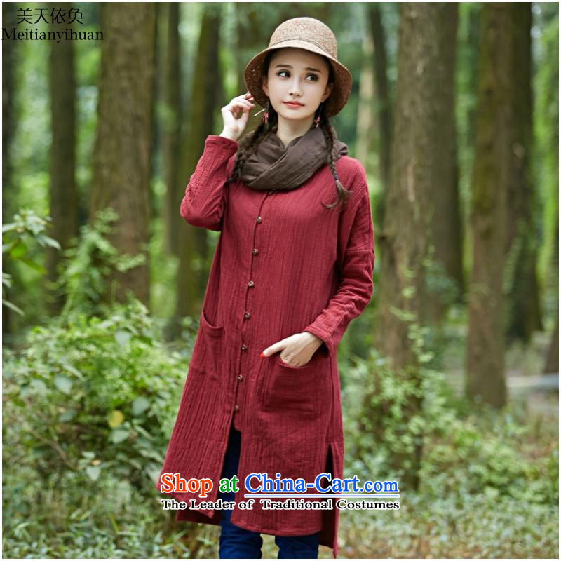 National Van 2015 autumn and winter new women's temperament pure color large loose cotton linen in long thin coat FZ559 wine red are code