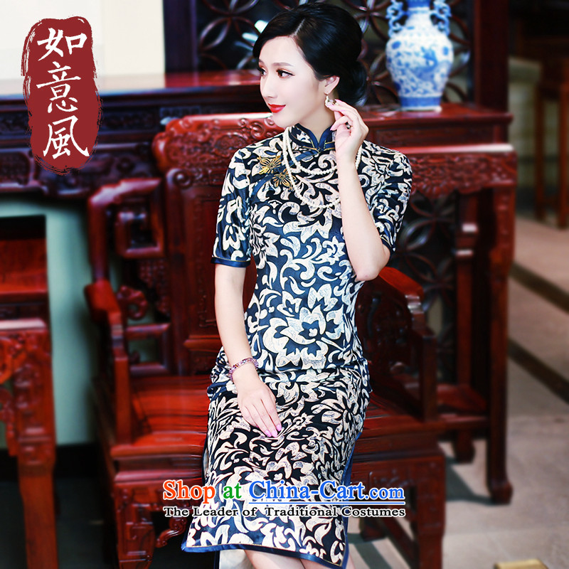 After a new 2015 wind cheongsam long improved retro cheongsam dress wedding banquet cheongsam dress suit 5443 5443燤