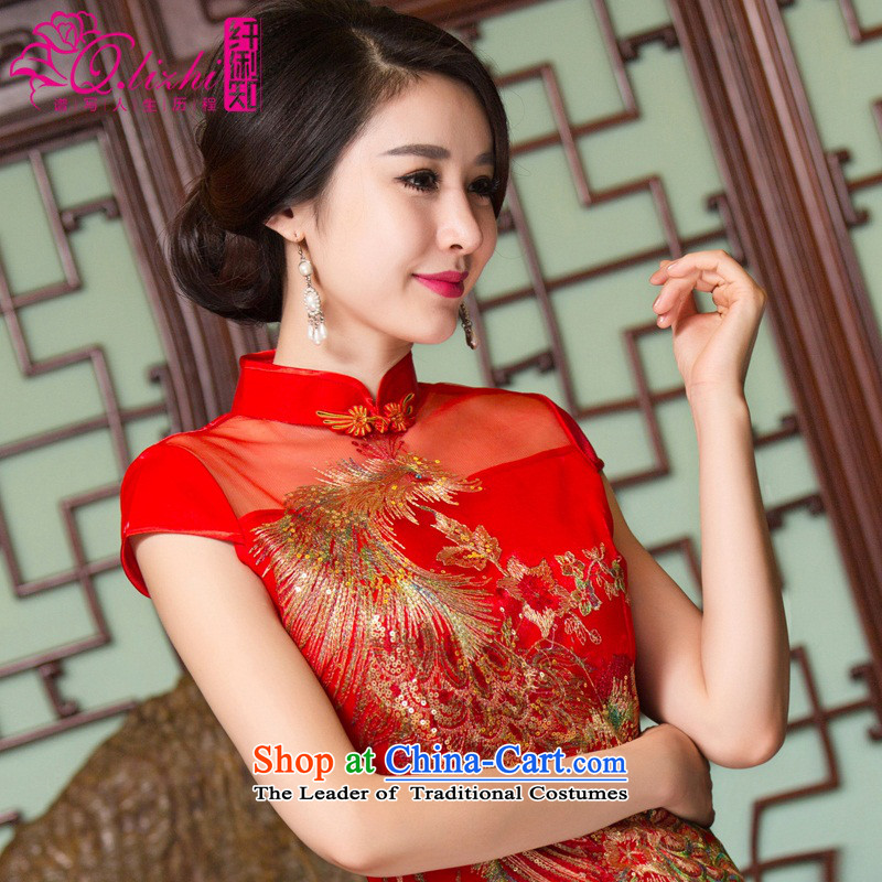 The former Yugoslavia the first known Li new retro cheongsam dress bridal dresses Chinese wedding dress bows wedding gown QLZ15Q6094 RED XL