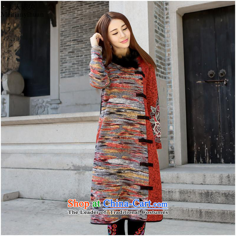 2015 Autumn and winter new ethnic knitting forming the embroidered long-sleeved thick dresses jacket FZ559 map color燣