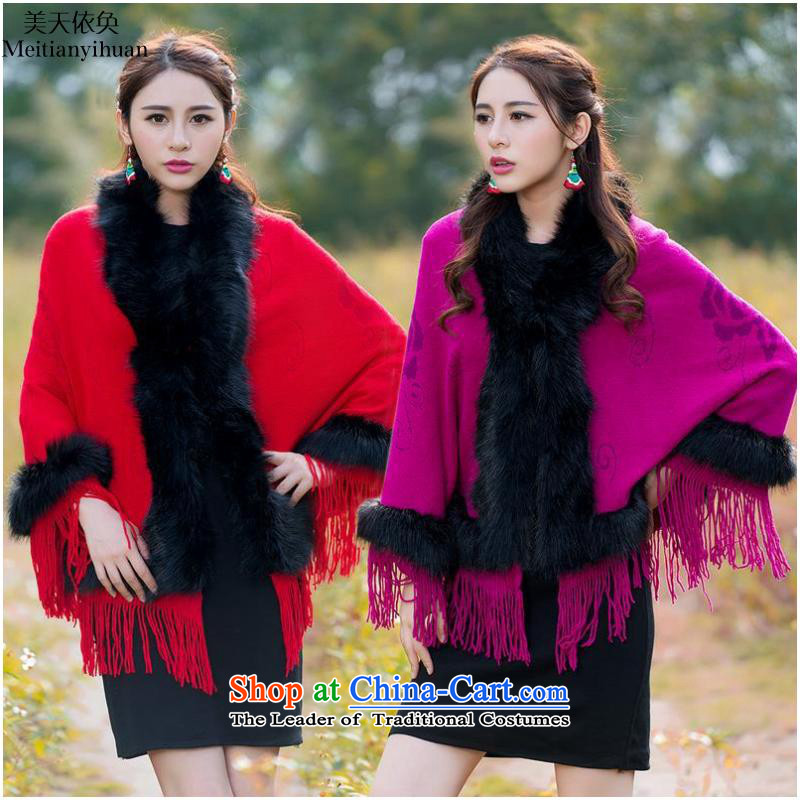 2015 Autumn and winter ethnic new woolen knitted jackets loose collar stitching shawl Nagymaros FZ559 female red are code