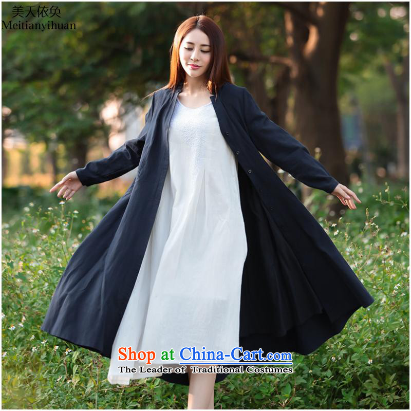 2015 Autumn and winter new women's large relaxd windbreaker dresses long-sleeved thick cotton linen cardigan FZ559 wine red燤 addition waistband