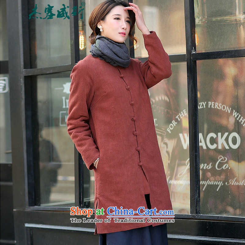 In Wisconsin, Retro Jie arts ethnic cotton linen round-neck collar in loose long thick cotton Linen Dress Shirt thoroughly Chinese Disc clip cotton coat rusty red jacket燣