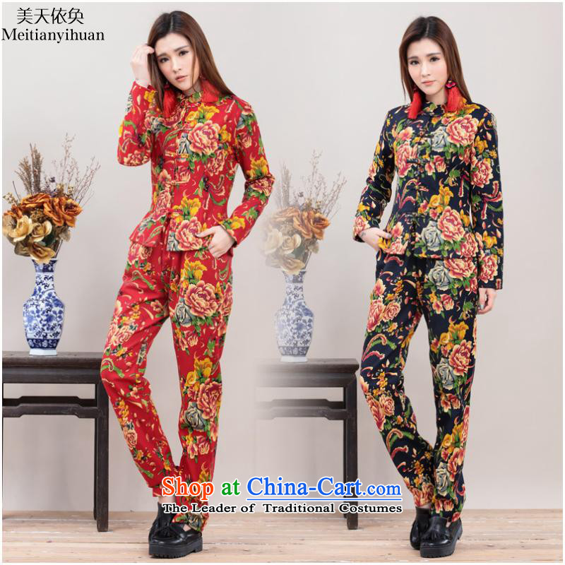 Ethnic Chinese Wind Mudan stamp tray clip jacket + Leisure pants and two piece kit plus lint-free package FZ559 RED M