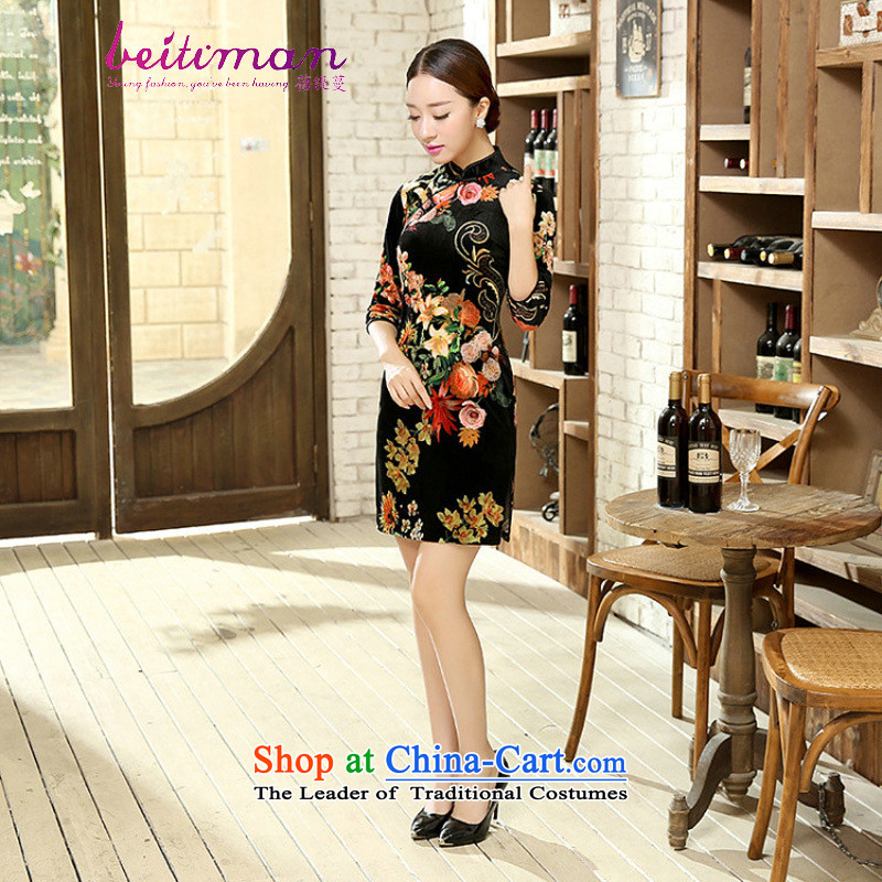 Mrs Ingrid Yeung economy Overgrown Tomb new women's elegant Wah Kwai Sau San really scouring pads in the reusable cuffs cheongsam dress燭D0056爁igure燲L