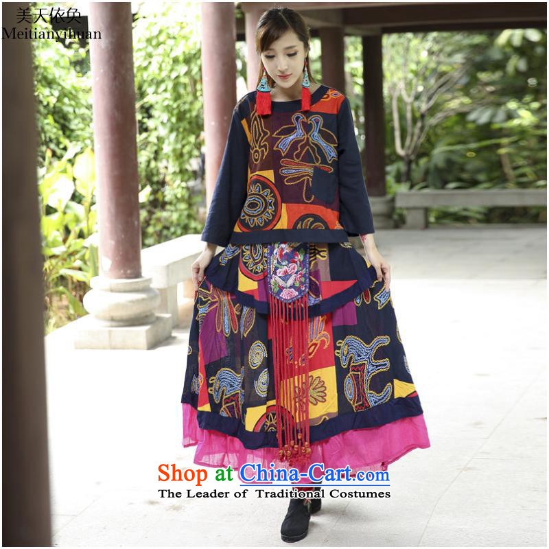2015 Autumn and winter new women's national wind stamp multi-tier put large body skirt pictures are code FZ559