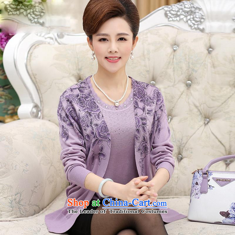 The elderly in the mother with false kit two long-sleeved sweater older stamp forming the Autumn and Winter Sweater Knit-聽8819聽105 PURPLE