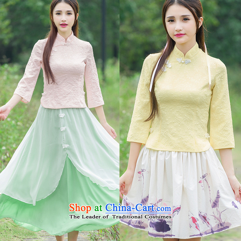 The case of the 2015 winter clothing new women of the Republic of Korea wind improved disk retro detained qipao shirt stamp costume horn cuff Yellow�XL