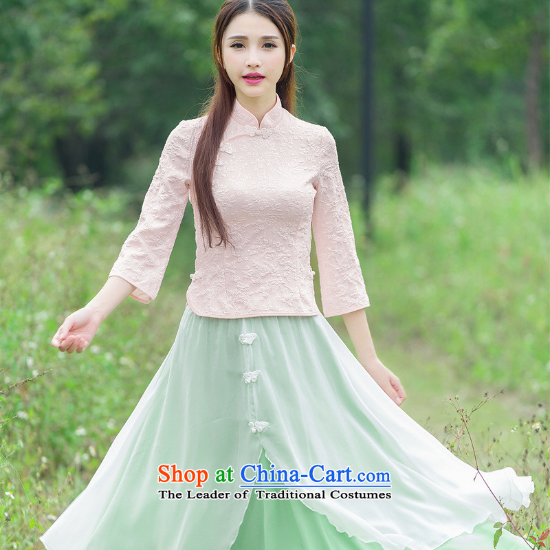 The case of the 2015 winter clothing new women of the Republic of Korea wind improved disk retro detained qipao shirt stamp costume horn cuff Yellow XL, of the statement (YIFUYAN) , , , shopping on the Internet