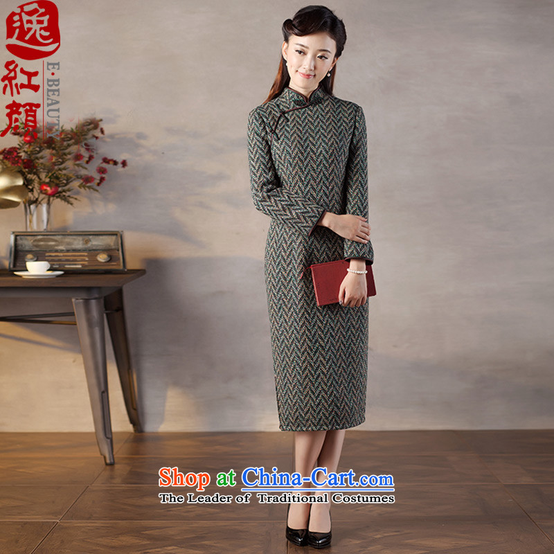 A Pinwheel Without Wind in warm Yat long long-sleeved qipao 2015 autumn and winter tweed new improved stylish qipao skirt water green 2XL