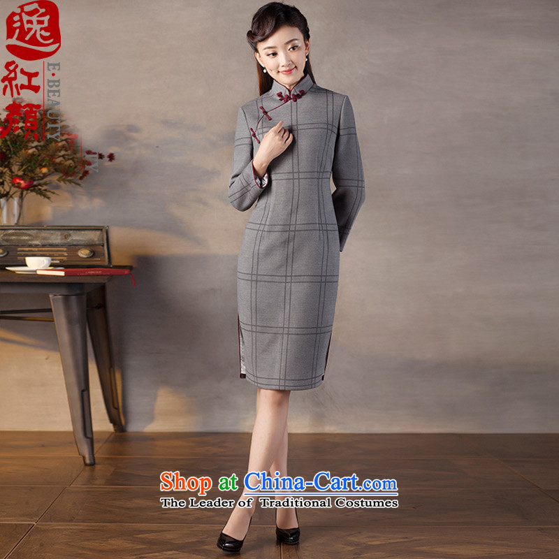 A Pinwheel Without Wind wood Kou in Yat Long Seven-sleeved gross qipao? The燦ew 2015 autumn and winter stylish qipao gray skirt Sau San燤