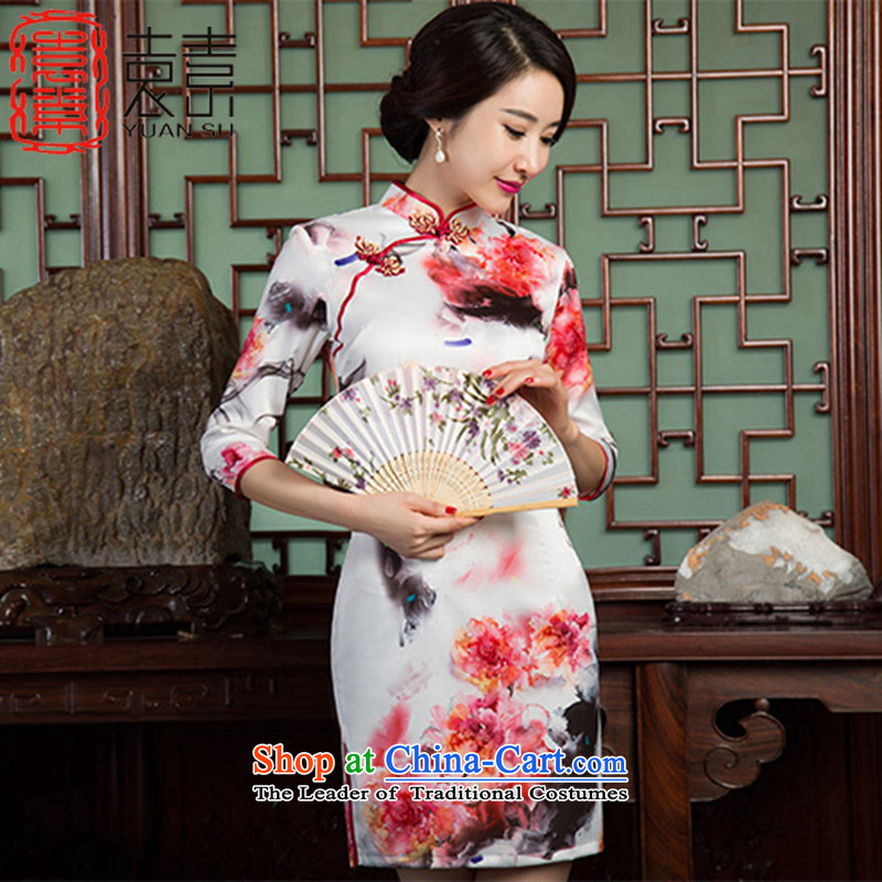 Yuan of ink safflower�15 retro fitted improved qipao autumn cheongsam dress cheongsam dress new Ms.燬Z3C006 paintings爌icture color燬