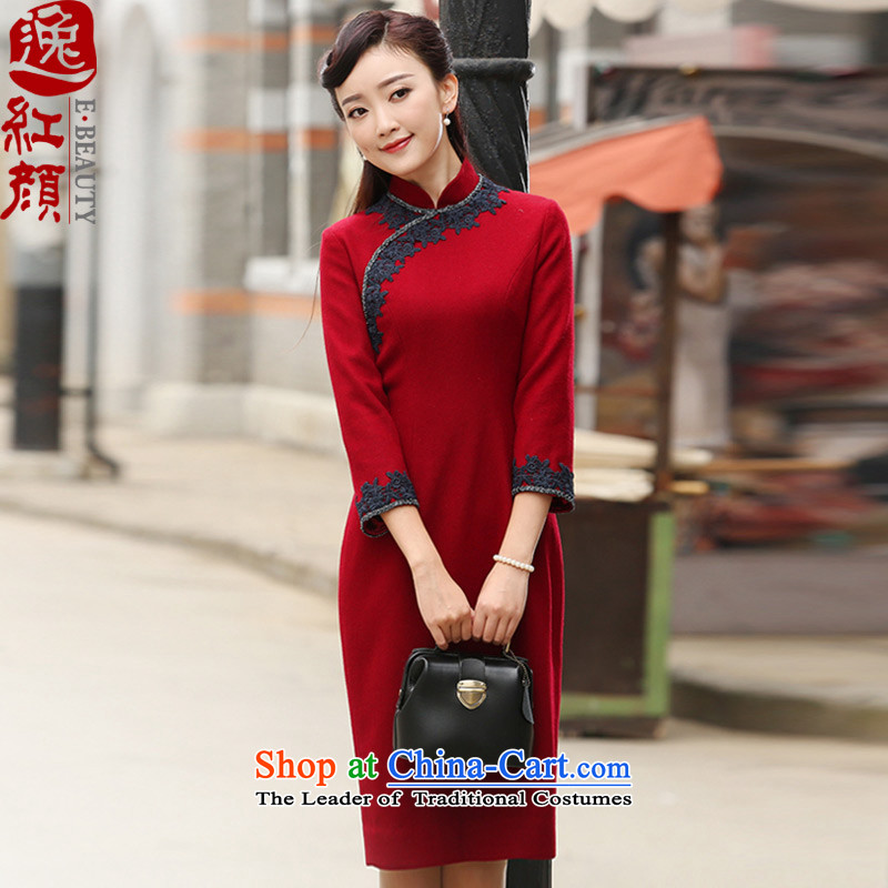 A Pinwheel Without Wind diffuse world 7 Yat-sleeved improved wool??2015 autumn and winter qipao new stylish retro cheongsam dress rouge color?S