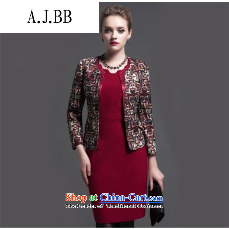 Memnarch 鐞� Connie shop two kits dresses in older temperament Sau San lace jacquard larger women's mother replacing skirt flower Yi Red Dress聽2XL_175 96 _A_