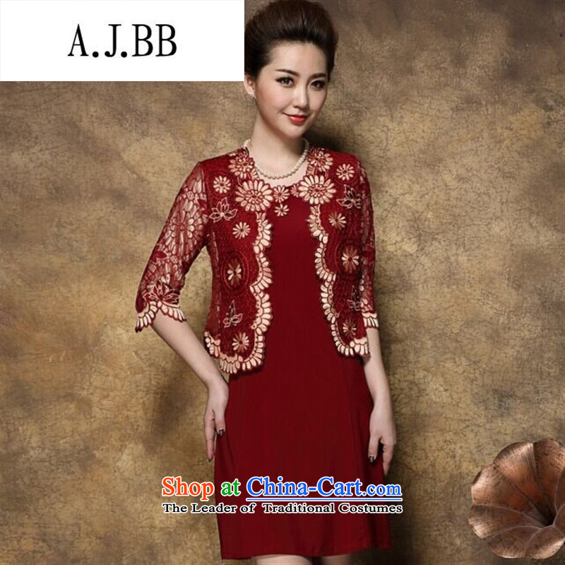 Connie shop autumn 琊 Memnarch New_ Older mother large load wedding banquet two kits dresses black L