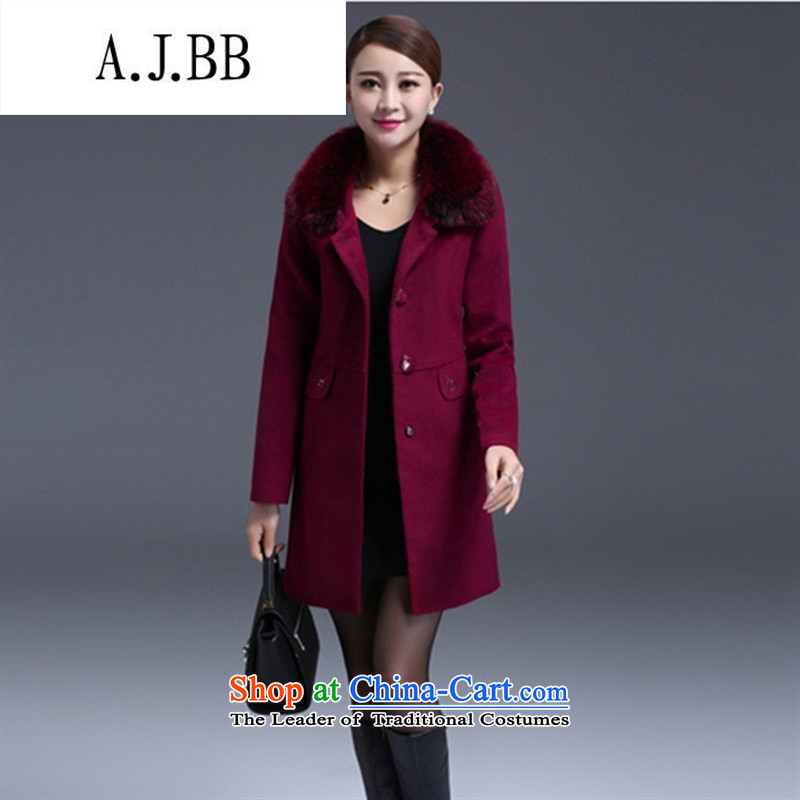 Memnarch 琊 Connie shop autumn and winter new elderly mother loaded collar workers in gross long wool? Jacket Sau San wine red XL