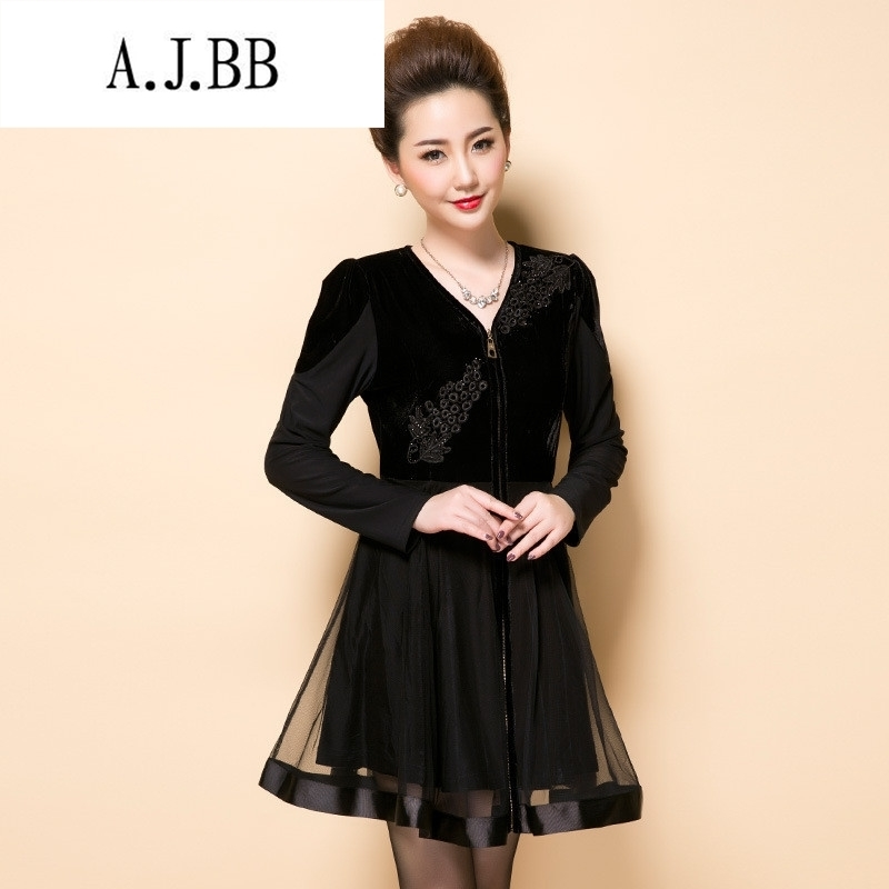 Memnarch ? Connie shop autumn and winter new stylish large number of elderly mother with embroidery lace wedding stitching ironing drill dresses large black L