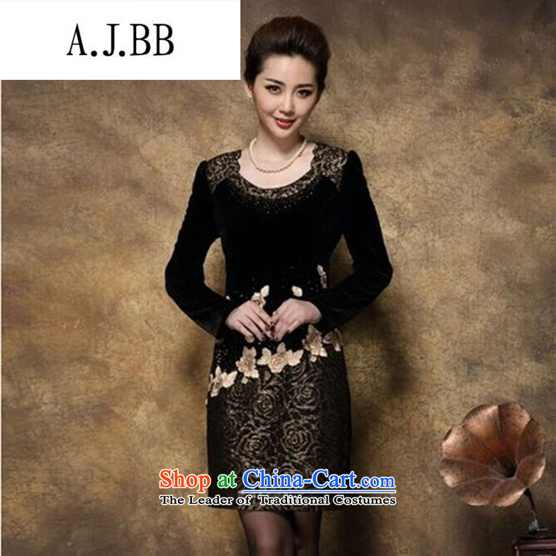 Connie shop autumn �� Memnarch New) Older mother large load long-sleeved Kim scouring pads embroidery stitching package and dresses Black and Yellow?XL