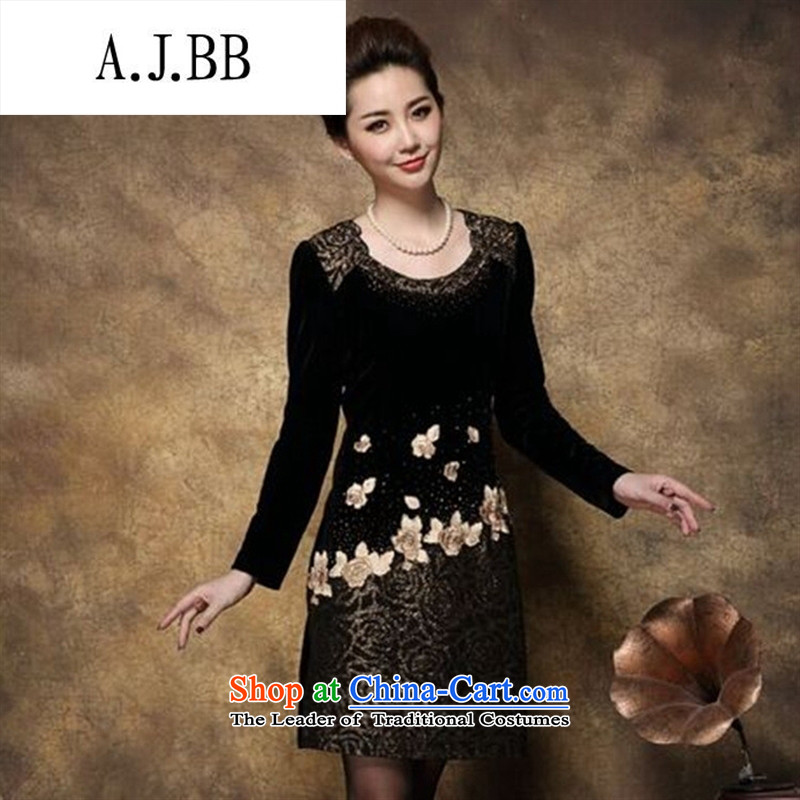 Connie shop autumn 琊 Memnarch New) Older mother large load long-sleeved Kim scouring pads embroidery stitching package and dresses black and yellow XL,A.J.BB,,, shopping on the Internet