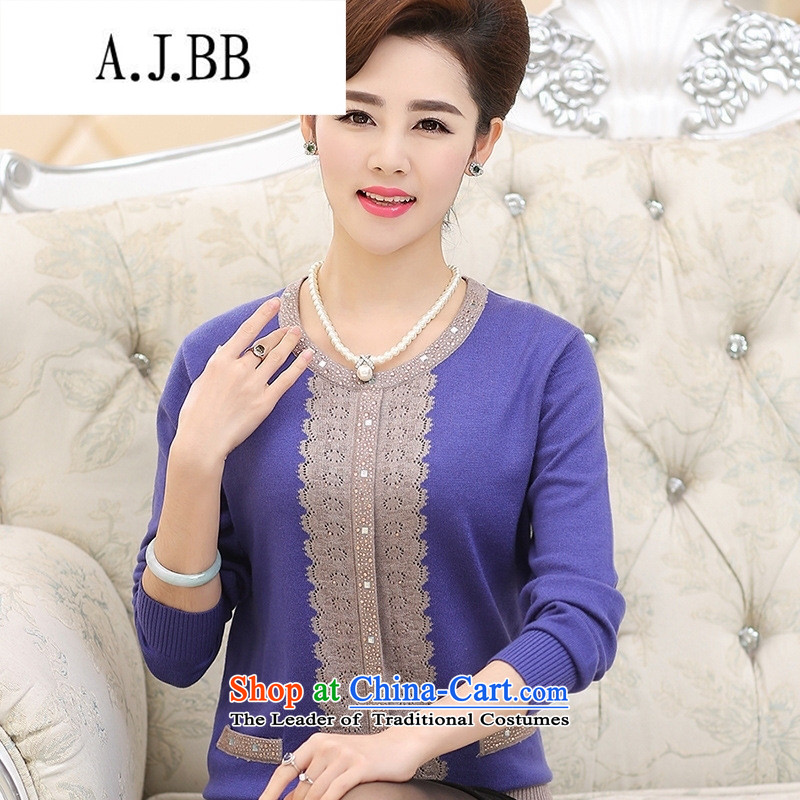 Connie shop in 琊 Memnarch Older Women fall inside the mother with round-neck collar diamond older persons forming the middle-aged Sweater Knit-SHIRT?XXXXL Purple