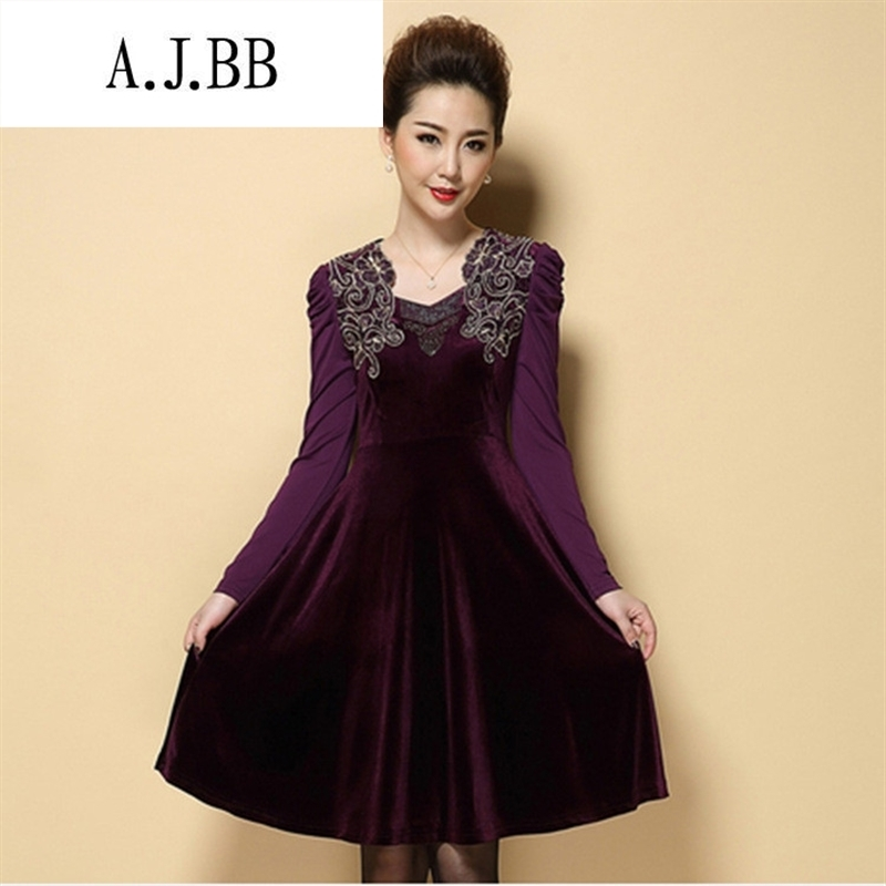 Memnarch 琊 Connie Shop Women fall in the number of older new boxed mother load larger women's gold velour Sau San video thin dresses purple 4XL