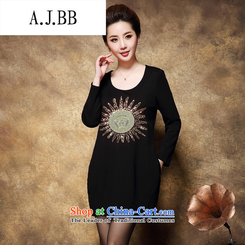 Memnarch ? Connie shop new fall inside thick mm xl stylish Sun Spangle Embroidery simple black dress code XXXXL