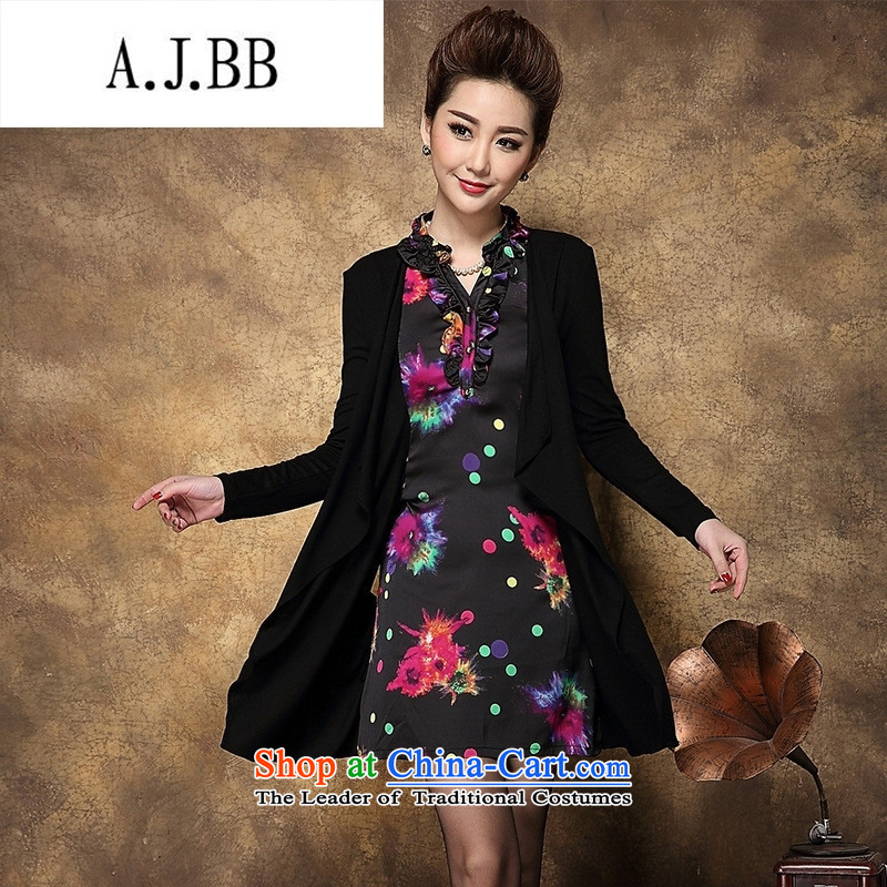 Memnarch 琊 Connie shops fall_winter collections of new Western women Leopard Stamp kit in the Sau San long mother replacing dresses stamp black large L