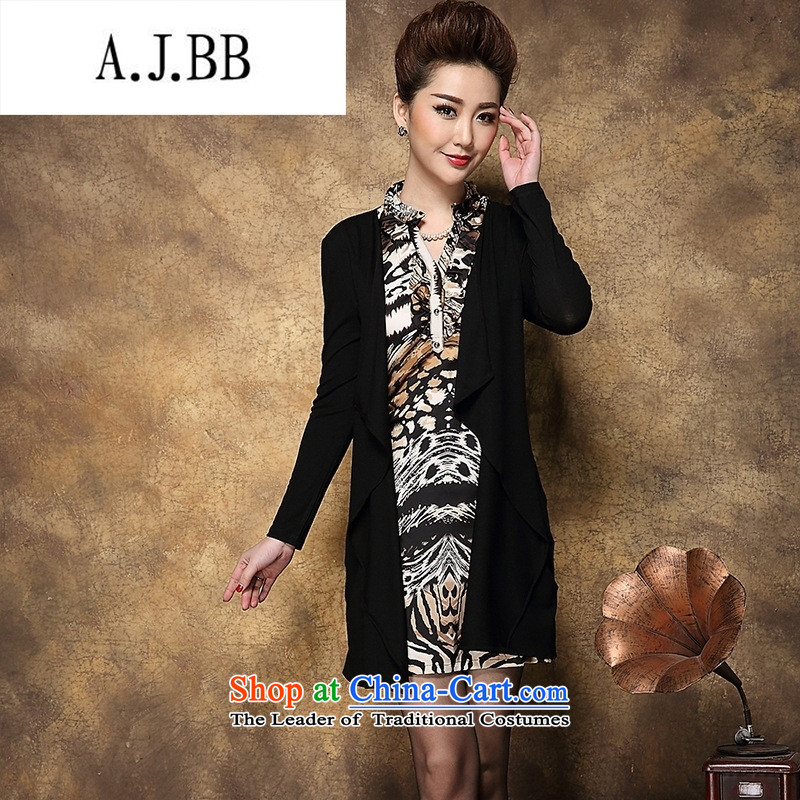 Memnarch 琊 Connie shops fall/winter collections of new Western women Leopard Stamp kit in the Sau San long mother replacing dresses stamp black large L,A.J.BB,,, shopping on the Internet
