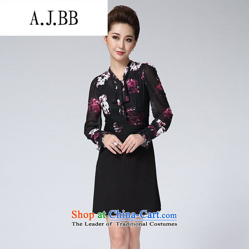 Connie shop in spring and autumn �� Memnarch load new spring loaded moms long-sleeved stamp dresses gauze graphics package and a long-sleeved thin purple flowers?2XL