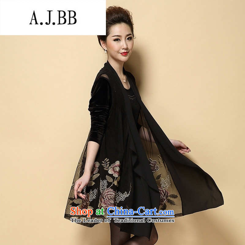 Connie shop autumn 琊 Memnarch replacing older women's large retro loose embroidery cardigan intensify mother with two-piece dresses large black XXL