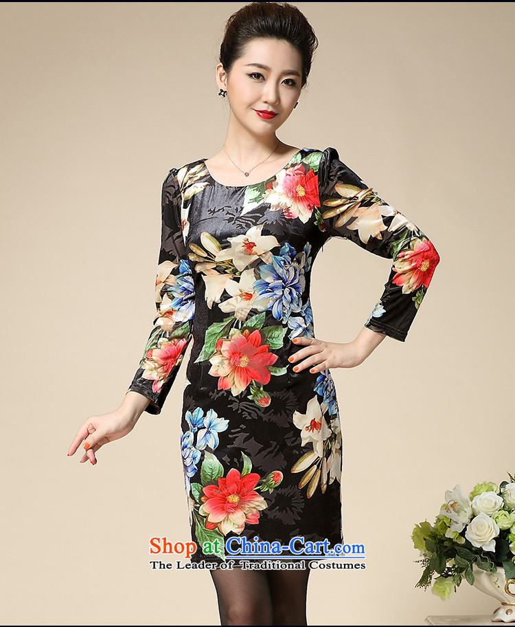 Connie shop autumn 琊 Memnarch new stamp Kim scouring pads middle-aged moms are long-sleeved dresses in long Golden LilyXXL picture, prices, brand platters! The elections are supplied in the national character of distribution, so action, buy now enjoy more preferential! As soon as possible.