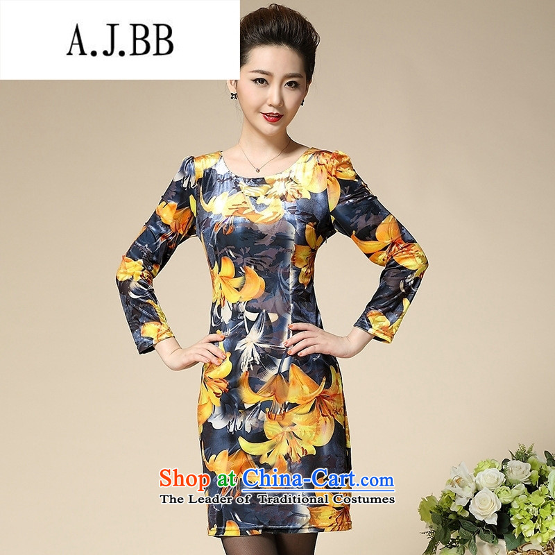 Connie shop autumn 琊 Memnarch new stamp Kim scouring pads middle-aged moms are long-sleeved dresses in long Golden Lily?XXL