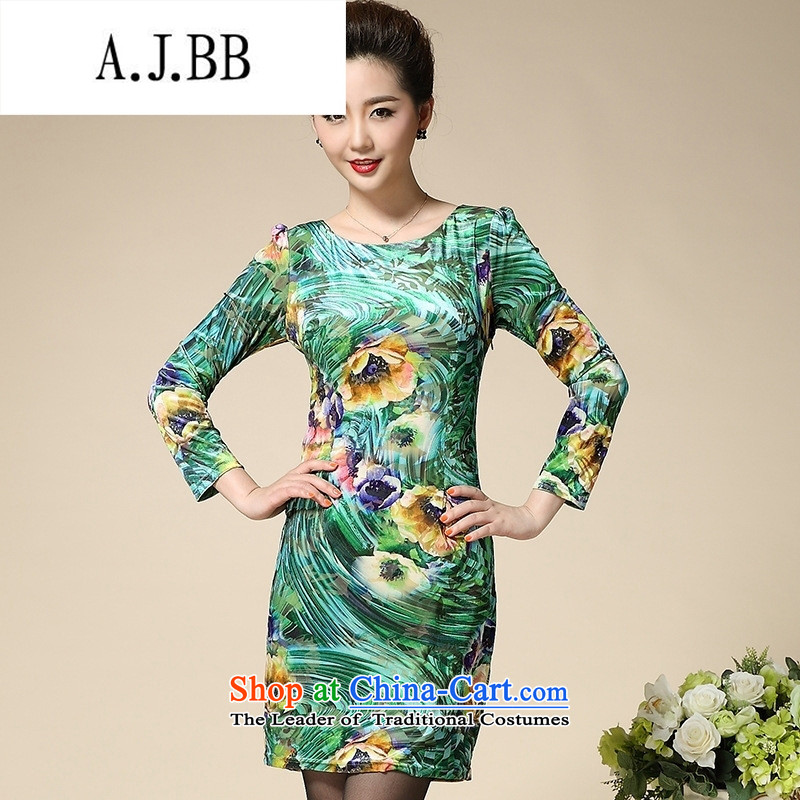 Connie shop autumn 琊 Memnarch new stamp Kim scouring pads middle-aged moms are long-sleeved dresses in long Golden LilyXXL,A.J.BB,,, shopping on the Internet