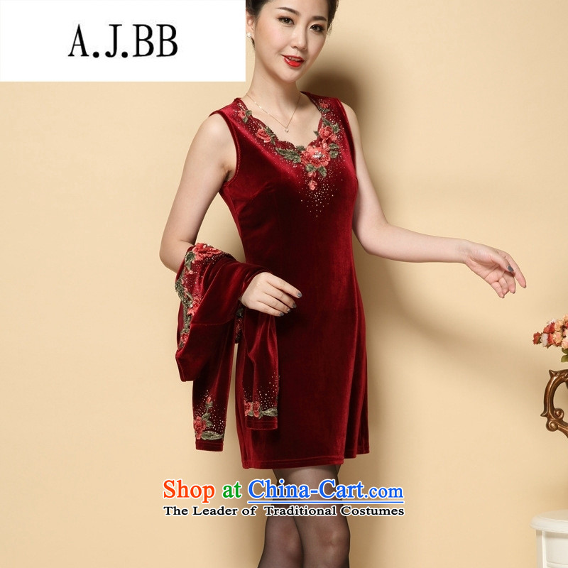 Connie shop autumn 琊 Memnarch load new marriage wedding wedding dress mother with two-piece Kim velvet older blue?XL