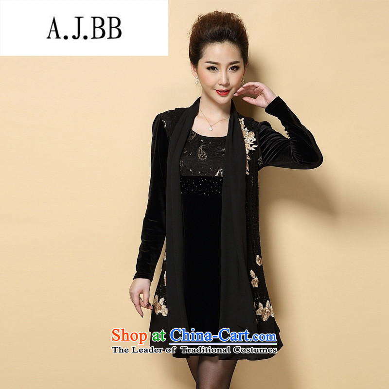 Connie shop autumn 琊 Memnarch New_ Older larger dresses video thin two kits embroidered dress Large Black XL